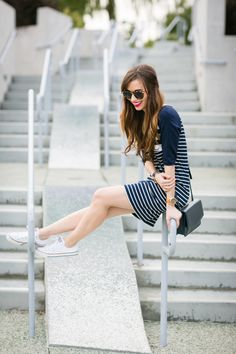 cute and casual summer outfit with blue and white striped dress M Loves M @marmar
