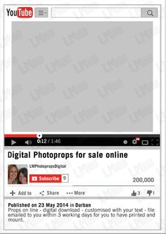 YouTube Photo Prop Customised Frame Digital Photo by LMPhotoProps #youtube…