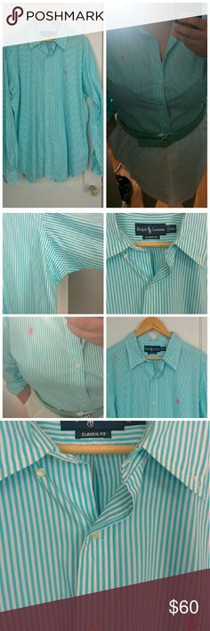Ralph Lauren Aqua Blue Stripe Oxford XXL 2X 18 20 New Oxford shirt from Ralph Lauren  Size xxl men's which fits perfectly for a woman's 18/20 or 2x  Purchased new and never worn. tags have been taken off. Only worn to take picture. Perfect for that clean classic Plus Size preppy look. They stop the woman's Oxfords with the classic pony logo at XL which is about 14/16.   Great with a white skirt and pearls or with jeans :-)  Crisp new shirt.. minus a few wrinkles from rolling up the sleeves…