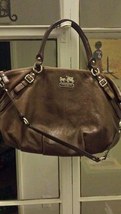 Authentic Coach Madison Sophia Leather Satchel handbag with strap shimmer brown #Coach #Satchel