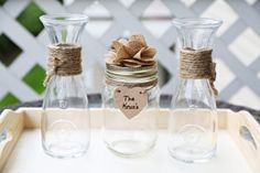 Personalized Rustic Theme Mason Jar Vase Wedding Unity Sand Ceremony Collection Set of 3 Glass Vases Twine and Custom Color Flower