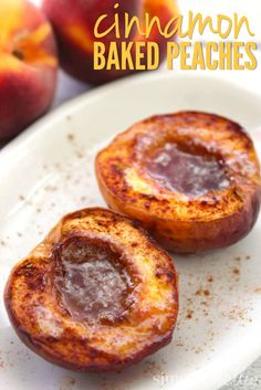 This Cinnamon Baked Peaches recipe is a perfect segue from summer to fall: The sweetness of summer fruit paired with a perfect spiced flavor for Fall. Yum!