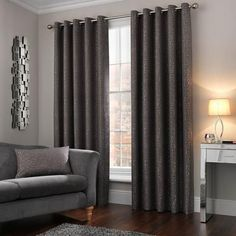 Fifth Avenue Madison Charcoal Eyelet Curtains Ready Made Eyelet Curtains, Blackout Eyelet Curtains, Blinds, Charcoal, Lounge, Room, Furniture, Flat, Home Decor
