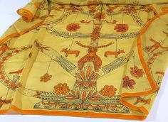 Large Vera Neumann Scarf, 31 by 32 Inches, Tree of Life Design, Gold and Orange