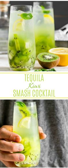 This Tequila Kiwi Smash Cocktail is the perfect way to toast summer! With tropical notes of fresh kiwis, cool mint, tequila and club soda, it's refreshing, effervescent and the perfect adult way to beat the heat! Tequila Drinks, Bar Drinks, Non Alcoholic Drinks, Cocktail Drinks, Cocktail Recipes, Club Soda Drinks, Cool Drinks, Cocktail Tequila, Beverages