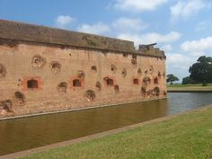 One side of Fort Pulaski. You can still see the holes from the canons!
