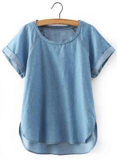 Azbro Women's Casual Round Short Sleeve Side Slit Denim Top