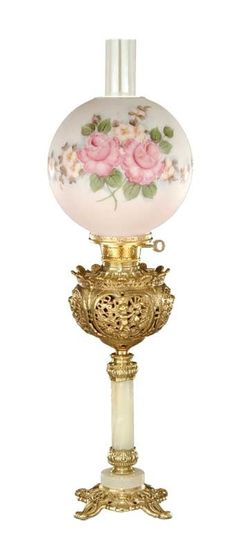 **Vintage Shabby -- I would love to have this! Victorian Lighting, Victorian Lamps, Victorian Furniture, Antique Lighting, Victorian Parlor, Vintage Furniture, Antique Oil Lamps, Old Lamps, Vintage Lamps