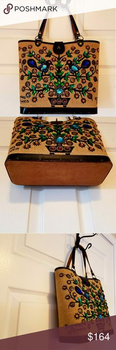 """ENID COLLINS of Texas Money Tree Bag 1960's True Vintage. """"It grows on trees"""" money tree jewel motif with Black Leather trim and real wood bottom. Immaculate condition, no missing jewels, perfectly clean. Enid Collins Bags Shoulder Bags"""