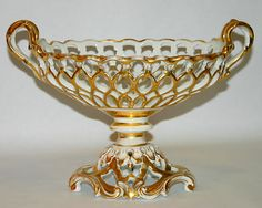 Antique French Old Paris Porcelain Reticulated Compote, circa 1850.