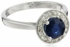 14k White Gold Round Blue Sapphire Center with Diamond Halo Ring (1.20 cttw, H-I Color, I1 Clarity)