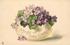 A BRIGHT AND HAPPY EASTER  written on fantasy egg containing violets