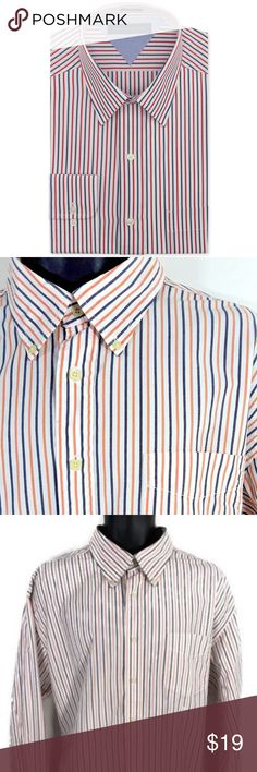 Tommy Hilfiger Mens Dress Shirt Stripe Size XL Tommy Hilfiger Mens Dress Shirt Multicolored Stripe Size XL Logo 100% Cotton Tommy Hilfiger Shirts Dress Shirts
