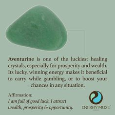 Aventurine is one of the luckiest healing crystals, especially for prosperity and wealth. Its lucky, winning energy makes it beneficial to carry while gambling, or to boost your chances in any situation.