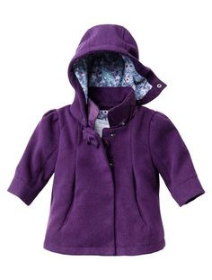 Baby Girl's Hooded Coat with Peter Pan Collar (Standard Warm PURPLE DARK SOLID - vertbaudet enfant