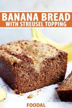 1 hour · Vegetarian · Serves 1 · Start off the day with a slice of the best banana bread with cinnamon streusel topping. The moist, flavorful loaf is topped with a crunchy spiced mixture that brings a little extra sweetness and flair… Cinnamon Banana Bread, Best Banana Bread, Easy To Make Breakfast, Fall Breakfast, Great Desserts, Dessert Recipes, Brunch Recipes, Breakfast Recipes, No Carb Bread
