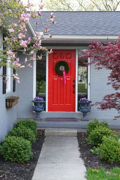Possibly do a red door with a light gray house