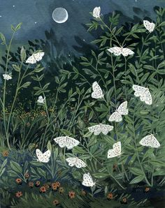 if I find out that this is a print or a greeting card I will probably buy it !  Moon Moths by Becca Stadtlander