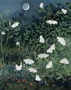becca stadtlander illustration: Moon Moths a drawing Art Inspo, Kunst Inspo, Moon Moth, Arte Obscura, 3d Fantasy, Art Et Illustration, Building Illustration, Art Illustrations, Art Graphique
