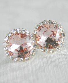 Blush pink crystal earrings Rose gold bridal. Jessica Simpson makes a version of these for half the price and they look EXACTLY the same!