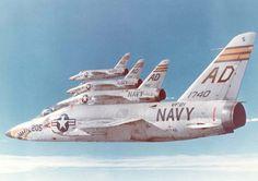 """Formation flight of US Navy Grumman F-11 """"Tiger""""."""