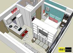 Studio Apartment Floor Plans, Studio Apartment Design, Studio Apartment Decorating, Little House Plans, Small House Plans, House Floor Plans, Small Apartment Layout, Small Apartments, Small Spaces