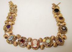 10K and 14K Gold Gemstone Slide Bracelet by LadyandLibrarian, $1200.00
