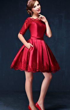 Hd09012 Charming Homecoming Dress,Satin Homecoming Dress,Lace Homecoming Dress,Half-Sleeve Homecoming Dress