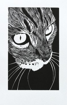 woodcut 'Tabby' by Peter Polaine