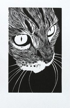 woodcut 'Tabby' by Peter Polaine