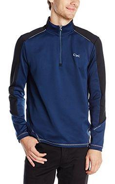 Calvin Klein Men's Long Sleeve 1/4 Zip Heavy Stretch Interlock Color Sweatshirt, Atlantis, Large ❤ Calvin Klein Men's Collections