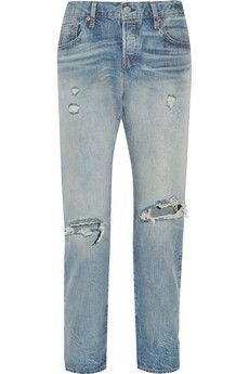 Levi's 501 CT Jeans 501 CT distressed mid-rise straight-leg jeans | NET-A-PORTER