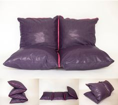 #ZIPILLOW 4 jeans purple cushions for kids & adults convertible in couch, pouf... Choose your color zipper. Covers removables.