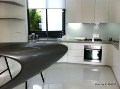 Kitchen -- Zaha Hadid designed showflat in Singapore -- D'Leedon Luxury Condo Condo Interior Design, Interior Design Singapore, Kitchen Interior, Cluster House, Zaha Hadid Design, New Condo, Luxury Condo, New Property, Condos For Sale