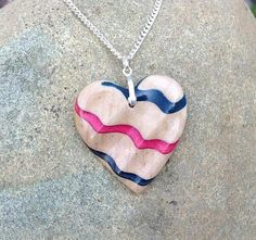 Modern Bohemian Sculpted Tiger Maple Heart Pendant Diagonal Stripe Handmade Wood Bead Sterling Silver Necklace   by WoodenItBeadLovely, $60.00 USD