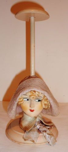 VINTAGE-HAT-STAND-GERMANY-COMPOSITION-HEAD-LOVELY-FACE-10-Tall