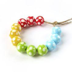 Glass Lampwork Beads Set, Handmade Glass Beads, Lampwork  Beads, Polka Dot Beads, Red, Yellow, Green, Blue