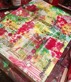Christy Tomlinson- ideas for backgrounds using scrapbook paper. Use of rub ons for details...and stencils!