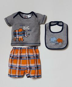 Another great find on #zulily! Gray Elephant 'Daddy's Big Man' Tee Set - Infant by Peanut Buttons #zulilyfinds