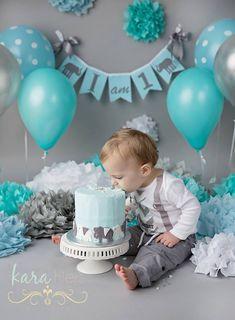 turquoise/aqua and gray cake smash