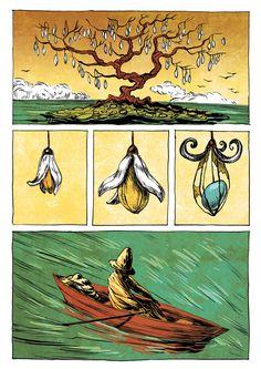Watercolor w/ bold outline: Silent Comics by Ileana Surducan, via Behance