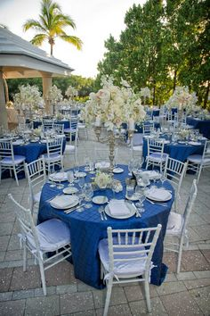 Silver and navy blue wedding reception