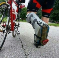 This is a good idea, I'm wearing the same type of boot because of torn tendons in my foot. Just strap these cycling soles on the bottom of these boots. Bike Meme, Bike Humor, Triathlon Coaching, Sprint Triathlon, Gopro, Bicycle Women, Bicycle Race, Road Cycling, Cycling Bikes