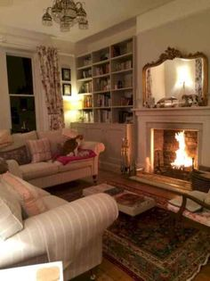 At Home Stuff Cottage Living Room Lighting Ideas Beautiful formal yet Cozy Living Room with A Roaring Fire Cottage Living Rooms, My Living Room, Living Room Furniture, Living Room Decor, Bedroom Decor, Country Furniture, Cottage Kitchens, Cottage Interiors, Antique Furniture
