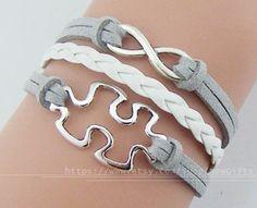 Infinity braceletPuzzle Piece charm bracelet JigSaw by NewGifts, $3.99