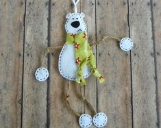 This polar bear Christmas ornament comes straight from the depths of my imagination, he is cute and cuddly and very similar to Mr. Moose and Mr. Felt Christmas Ornaments, Christmas Crafts, Christmas Decorations, Felt Crafts, Holiday Crafts, Polar Bear Christmas, Owl Ornament, Etsy, Imagination