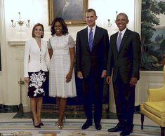 De Obama gaf het Spaanse koppel een koninklijk welkom op hun aankomst in het Witte Huis