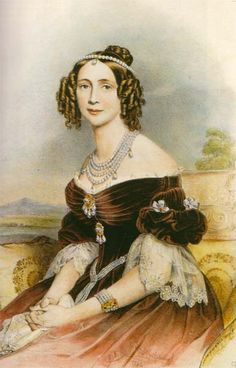 Queen Maria Anna of Saxony (1805-1877) nee Her Royal Highness Princess Maria Leopoldina Anna of Bavaria. Maria Anna von Bayern. I believe this print is based on the painting by Joseph Karl Stieler.