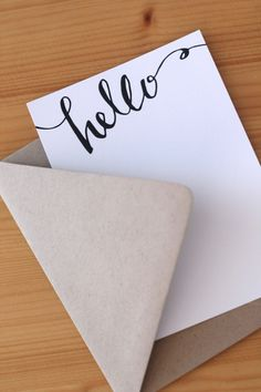 "Hand-lettered ""Hello"" flat cards, flat note cards, Set of 8. $12.00, via Etsy."