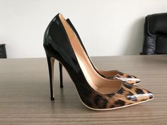 JUANITA JEWEL (SHOES-SPECIALTY ITEMS) Patent Leather Leopard Pointy Toe Slip On Heels